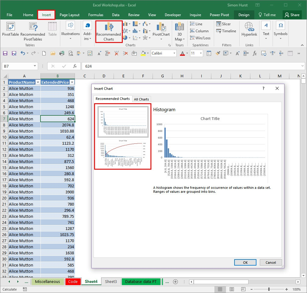Excel 2016 Explore The New Chart Types Brown Bag Bookkeeping